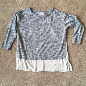 LOFT Mixed material lounge 3/4 sleeve sweater